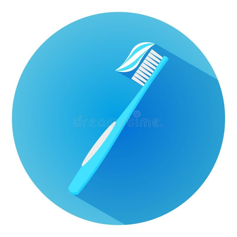 Cepillo de dientes con crema dental Icono largo de la sombra del diseño plano dentífrico fotografía de archivo libre de regalías