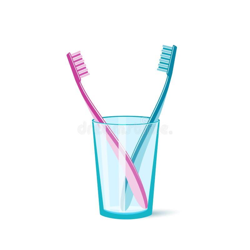 Cepillo de dientes en un vidrio ilustración del vector