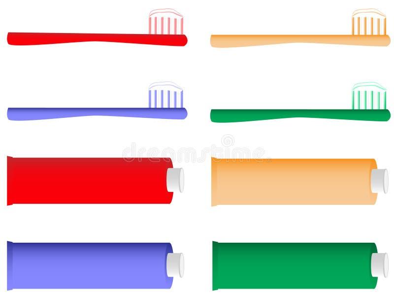 Cepillo de dientes y crema dental ilustración del vector