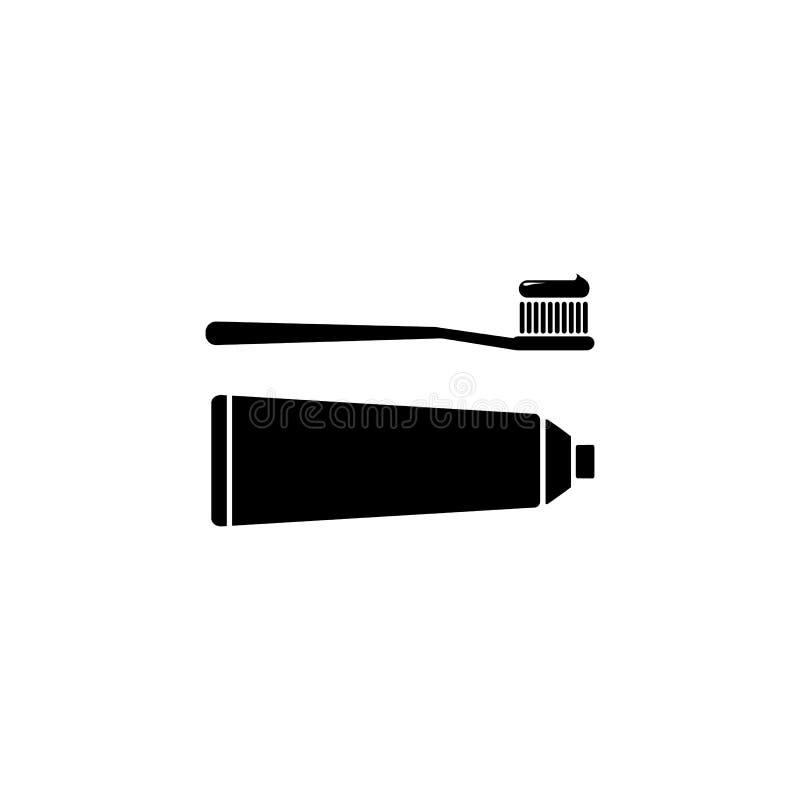 Cepillo de dientes y crema dental del icono del vector Silueta negra libre illustration