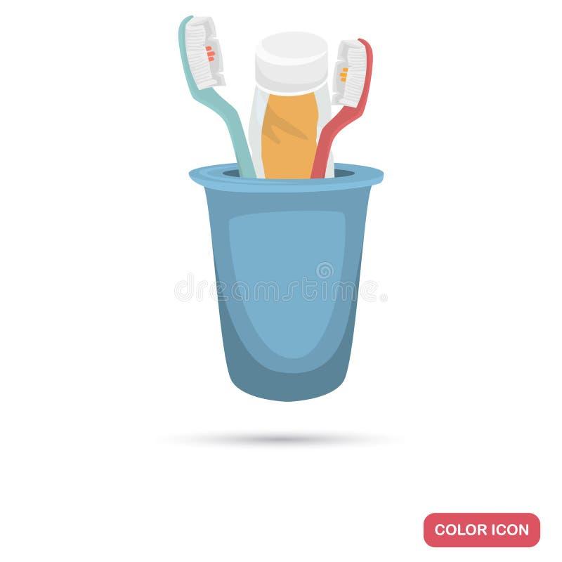 Cepillo de dientes y crema dental en un icono plano del color de cristal para el web y el diseño móvil