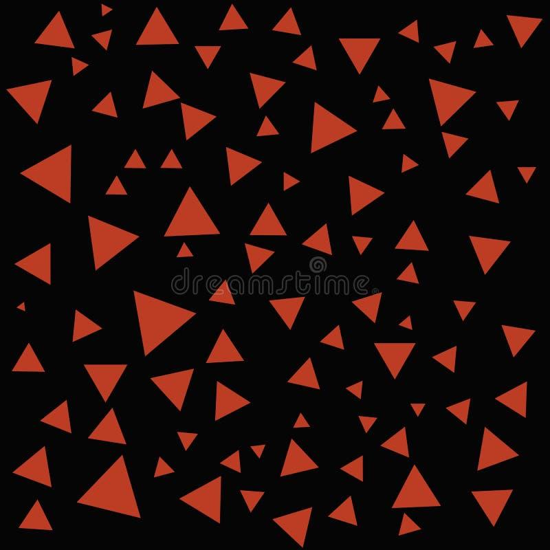 Cepillo de la estructura geom?trica Triángulos rojos abstractos en el contexto negro Fondo del tri?ngulo ilustración del vector