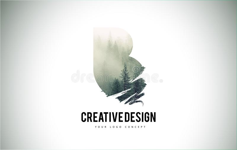 Cepillo de la letra de B con Forest Fog Texture Forest Trees Letter Logo ilustración del vector