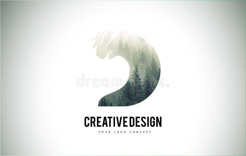 Cepillo de la letra de D con Forest Fog Texture Forest Trees Letter Logo ilustración del vector
