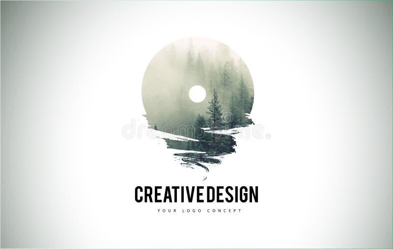 Cepillo de la letra de O con Forest Fog Texture Forest Trees Letter Logo ilustración del vector