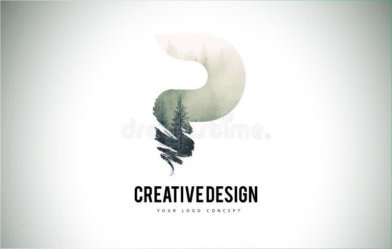 Cepillo de la letra de P con Forest Fog Texture Forest Trees Letter Logo ilustración del vector