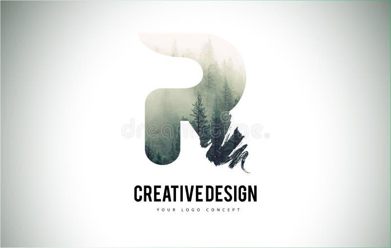 Cepillo de la letra de R con Forest Fog Texture Forest Trees Letter Logo ilustración del vector