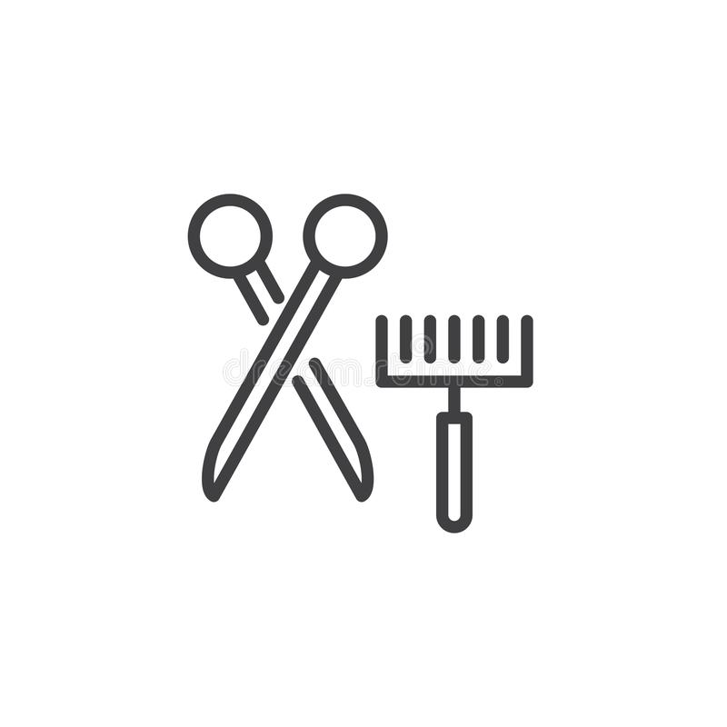 Cepillo de la preparación del animal doméstico y línea icono de las tijeras libre illustration