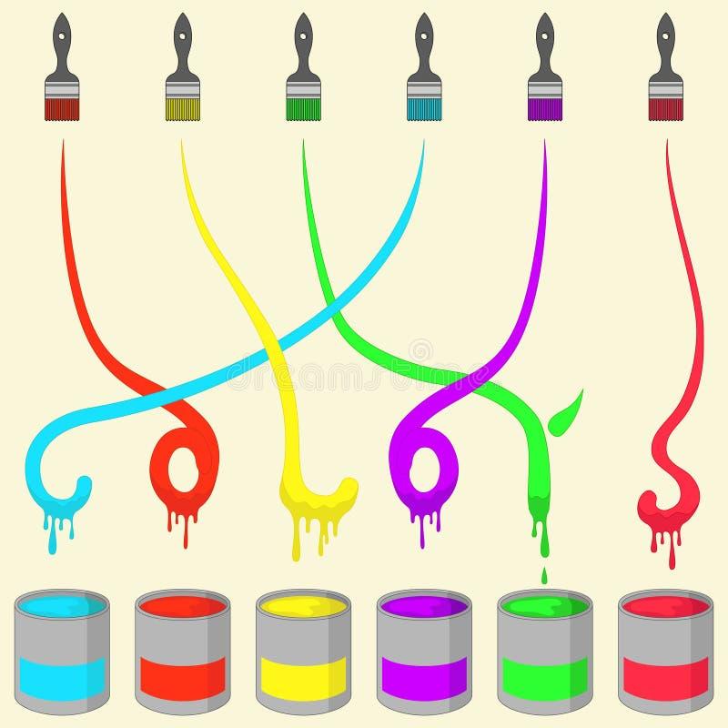 Cepillo de pintura coloreado stock de ilustración