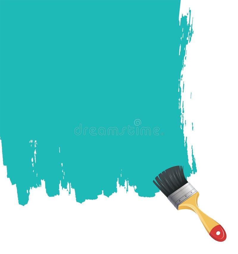Cepillo de pintura con el chapoteo azul stock de ilustración