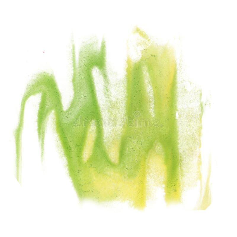Cepillo del aquarel del watercolour de la salpicadura del amarillo del verde del movimiento de la cal del aislante de la acuarela fotos de archivo libres de regalías