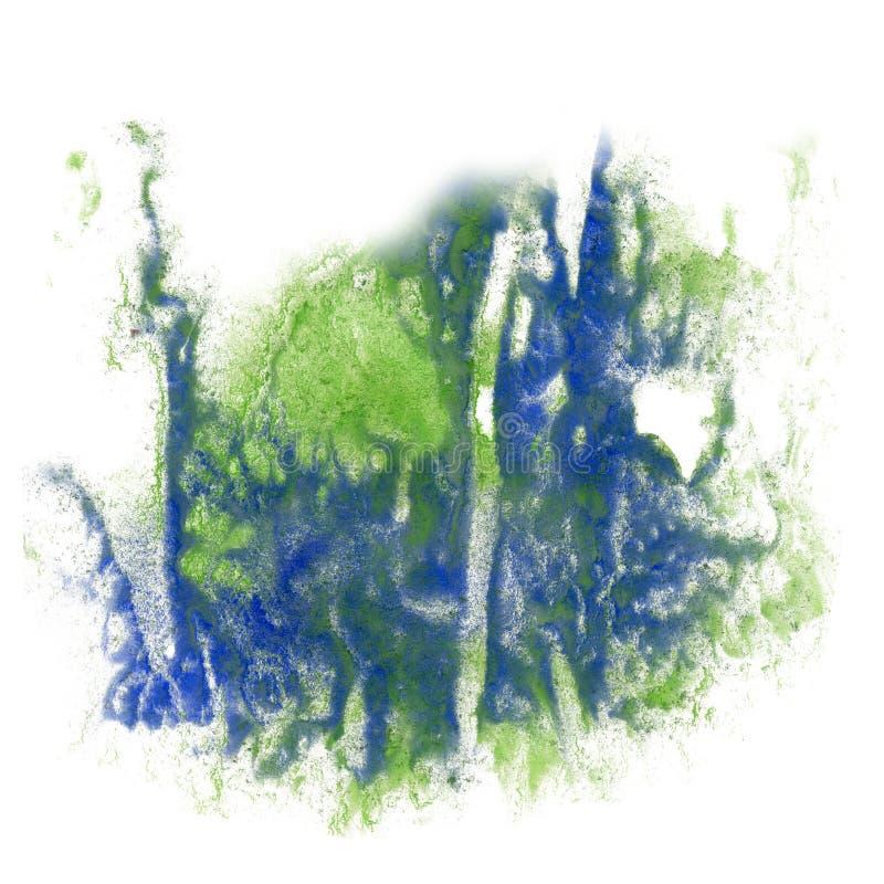Cepillo del aquarel del watercolour de la salpicadura del verde azul del movimiento del aislante de la acuarela de la tinta del c imagen de archivo libre de regalías