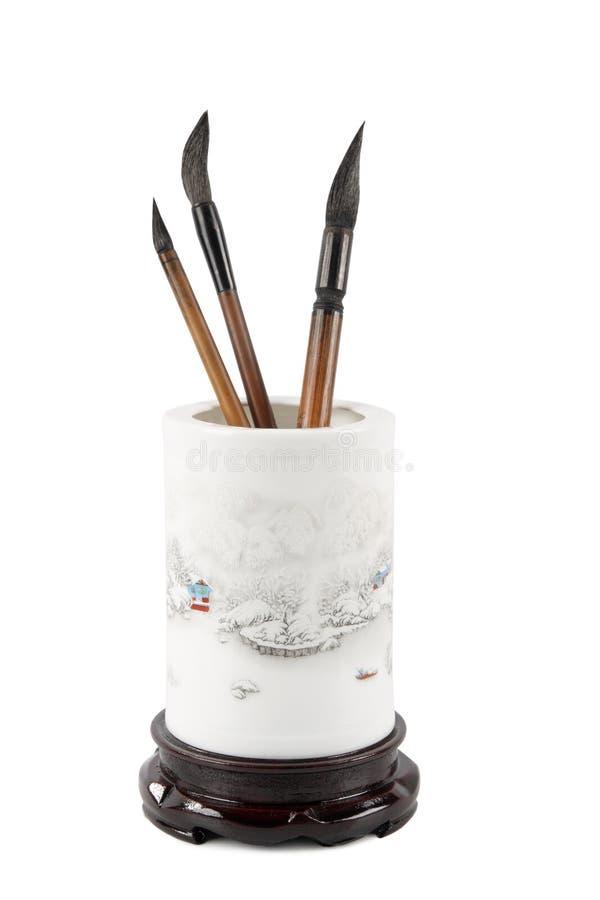 Cepillo del crisol y de escritura del cepillo del chino imagenes de archivo
