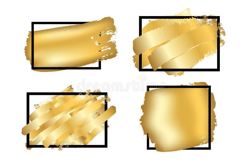 Cepillo del oro en fondo blanco aislado marco de la casilla negra Los movimientos de oro fijaron textura abstracta Frontera de la libre illustration