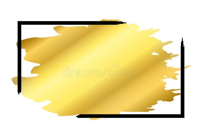 Cepillo del oro en fondo blanco aislado marco negro del rectángulo Tinta de oro del grunge de la frontera Bandera lisa de lujo de ilustración del vector