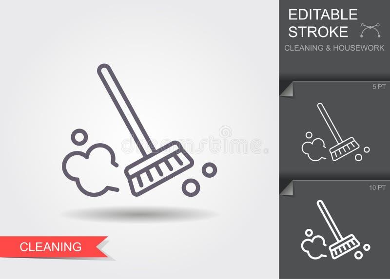 Cepillo del polvo L?nea icono con el movimiento editable con la sombra stock de ilustración