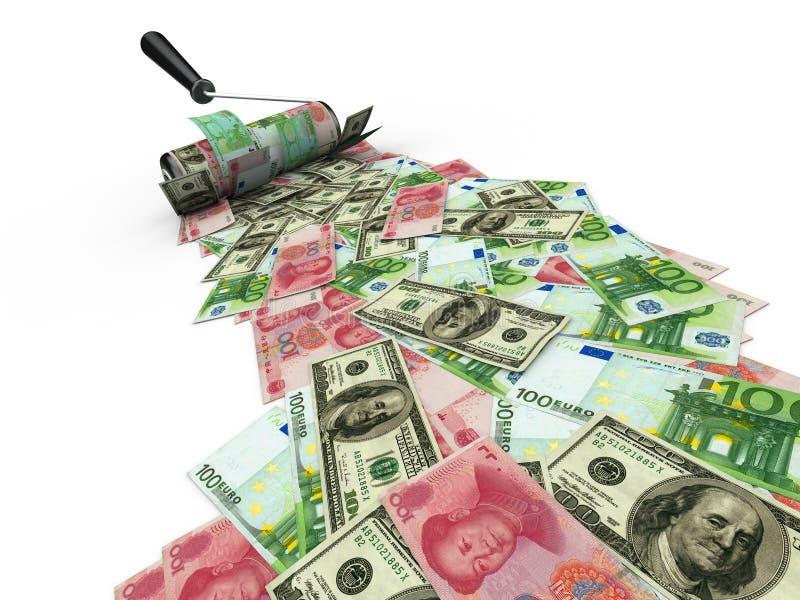 Cepillo del rodillo con el dólar, el euro y yuan libre illustration