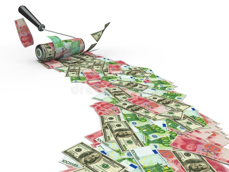 Cepillo del rodillo con el dólar, el euro y yuan stock de ilustración