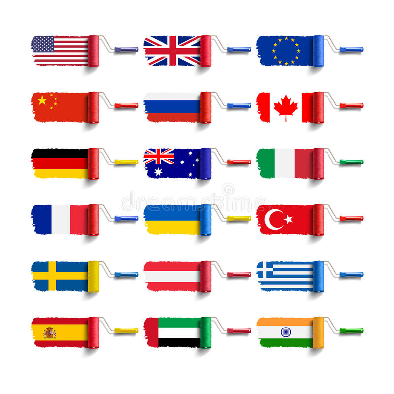 Cepillo del rodillo con la bandera libre illustration