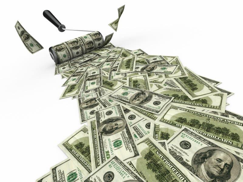 Cepillo del rodillo con los dólares stock de ilustración