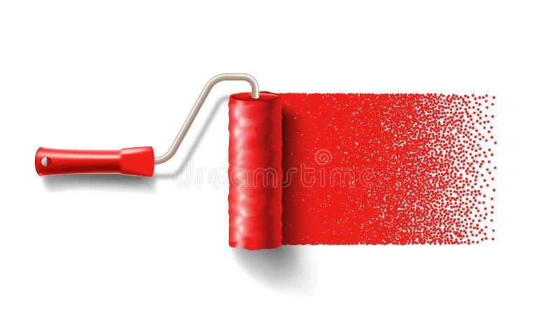 Cepillo del rodillo de pintura con la pista roja de la pintura stock de ilustración