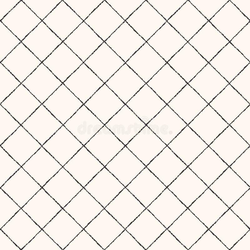 Cepillo, mano, modelo inconsútil dibujado tiza de la textura del enrejado libre illustration