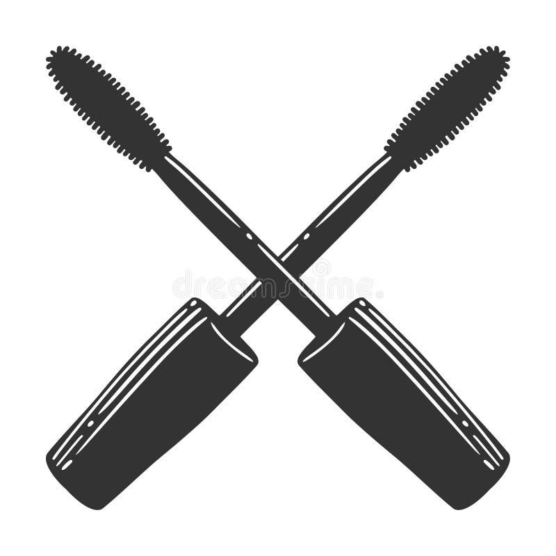 Cepillo negro del rimel Vector en estilo del garabato y del bosquejo stock de ilustración