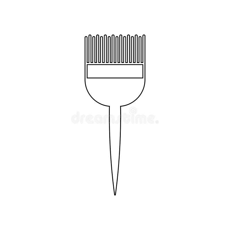 Cepillo para el icono de te?ido del pelo Elemento del peluquero para el concepto y el icono m?viles de los apps de la web Esquema stock de ilustración