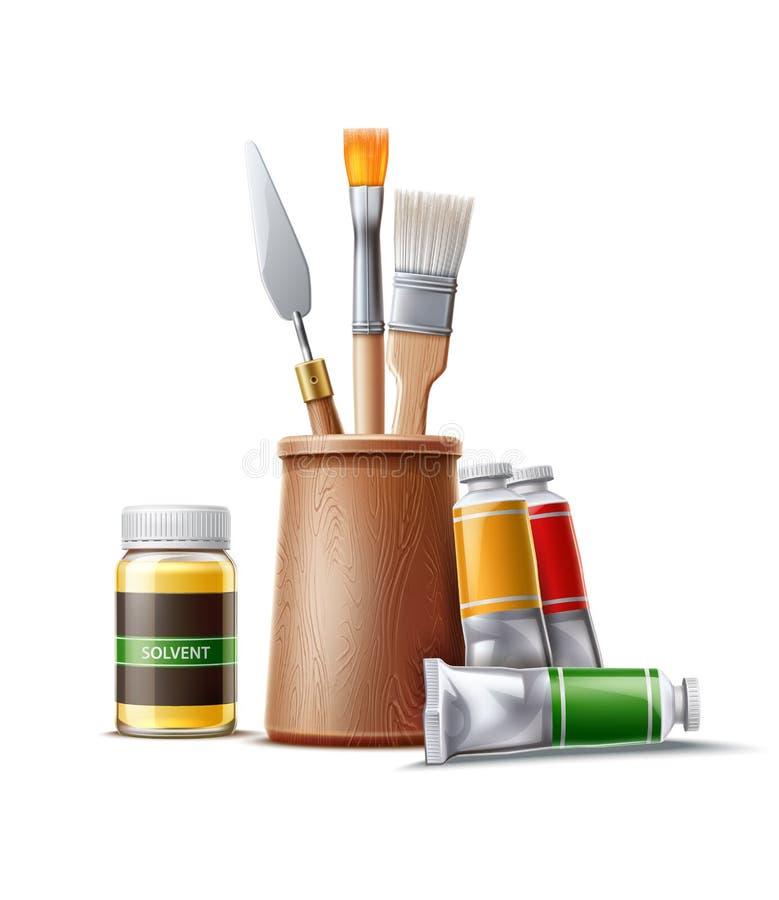 Cepillo realista del tubo de la pintura de aceite del vector para dibujar ilustración del vector