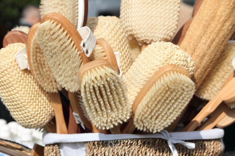 Cepillo y accesorios de madera del BALNEARIO imagenes de archivo