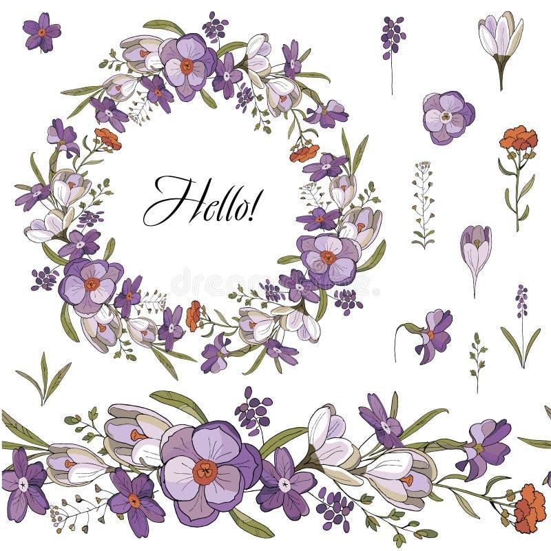 Cepillo y guirnalda inconsútiles de las flores de la primavera en el fondo blanco Guirnalda del azafrán ilustración del vector