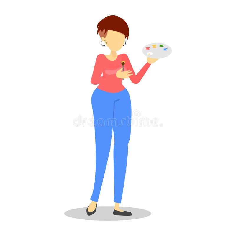 Cepillo y paleta de colores creativos de la tenencia del carácter femenino stock de ilustración