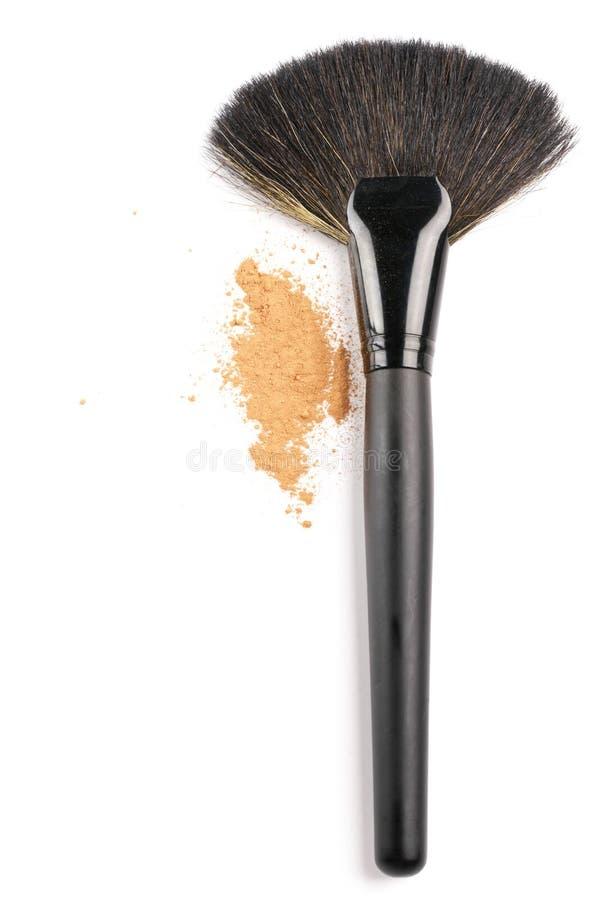 Cepillo y polvo del maquillaje fotos de archivo libres de regalías