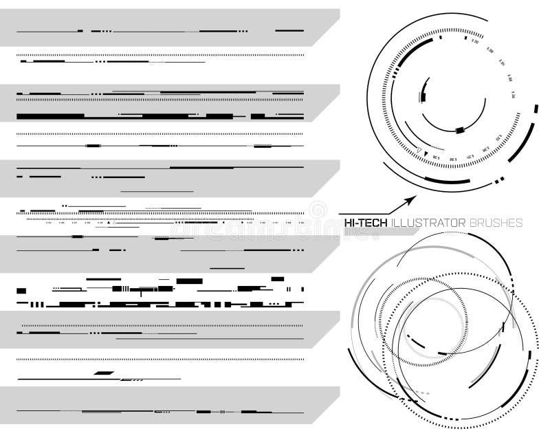 Cepillos de alta tecnología del ilustrador stock de ilustración