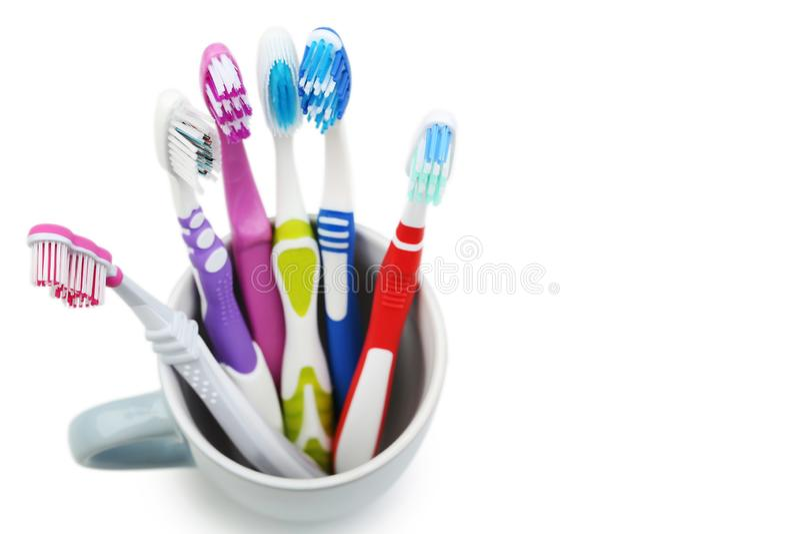 Cepillos de dientes en taza fotografía de archivo libre de regalías