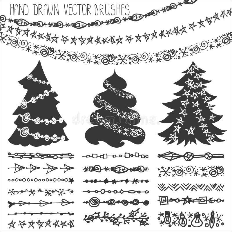 Cepillos de la guirnalda del día de fiesta Equipo del garabato de la Navidad negro ilustración del vector