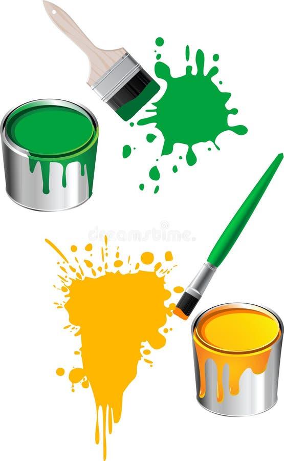 Cepillos de pintura stock de ilustración