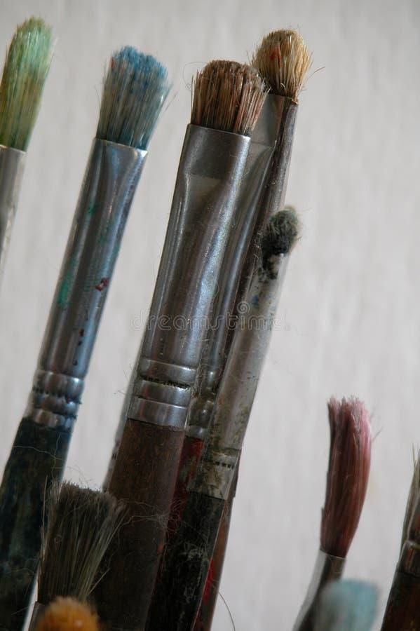 Cepillos De Pintura Usados Fotografía de archivo