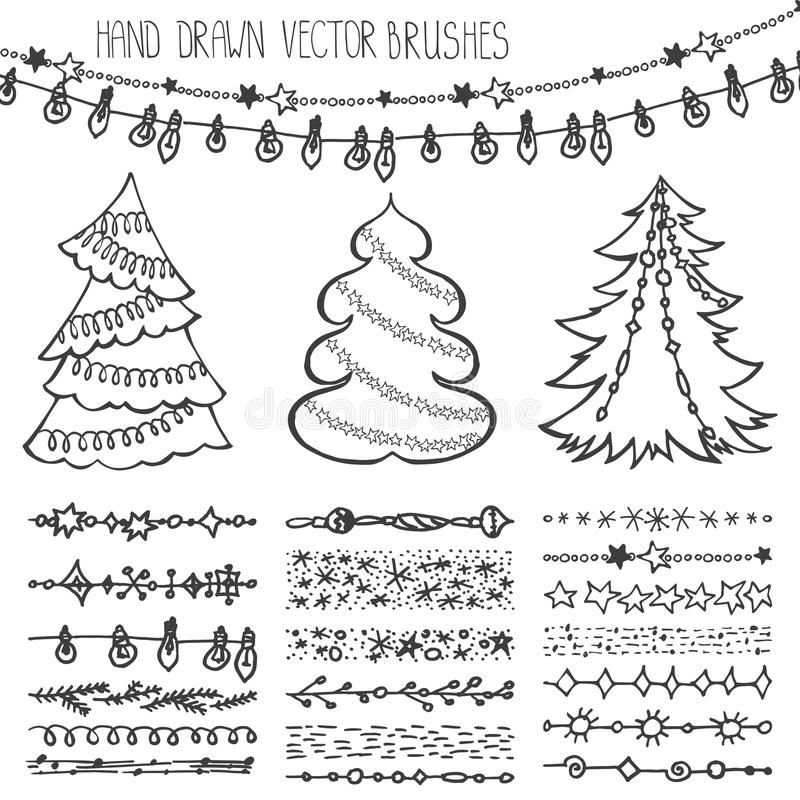 Cepillos del día de fiesta Sistema del garabato de la Navidad negro ilustración del vector