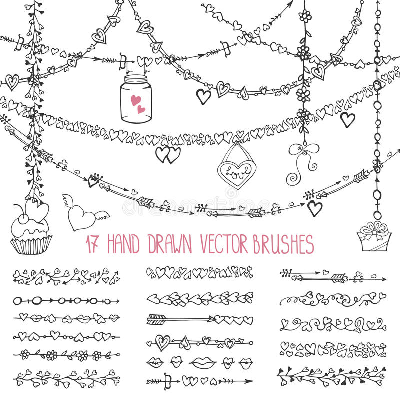 Cepillos del garabato del corazón del amor Tarjeta del día de San Valentín, casandose libre illustration