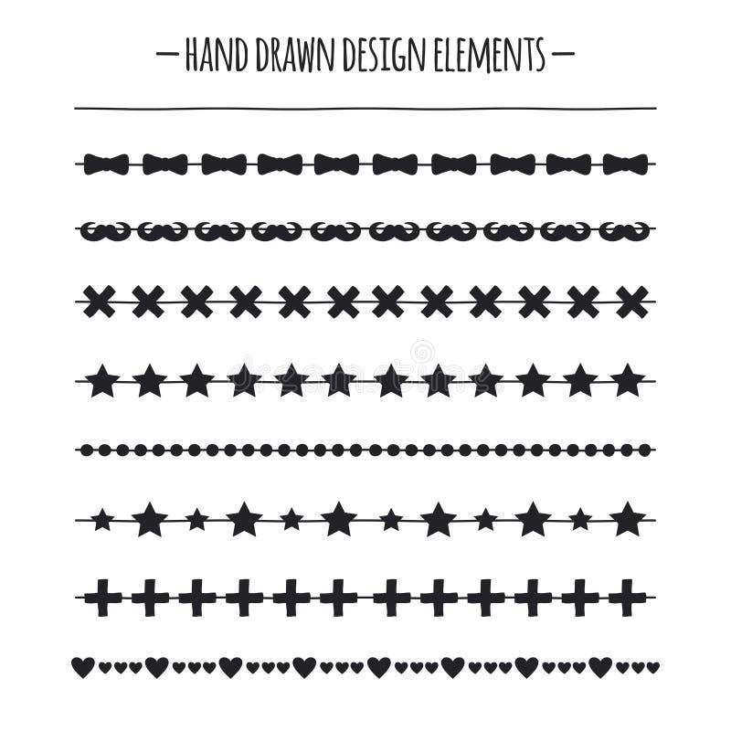 Cepillos del inconformista Frontera Línea dibujada mano sistema de la frontera Elemento del diseño Modelo geométrico de la moda p libre illustration
