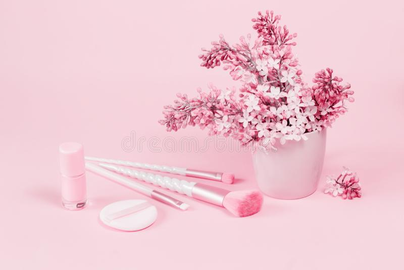 Cepillos del maquillaje del unicornio de la belleza con el regalo rosado imágenes de archivo libres de regalías