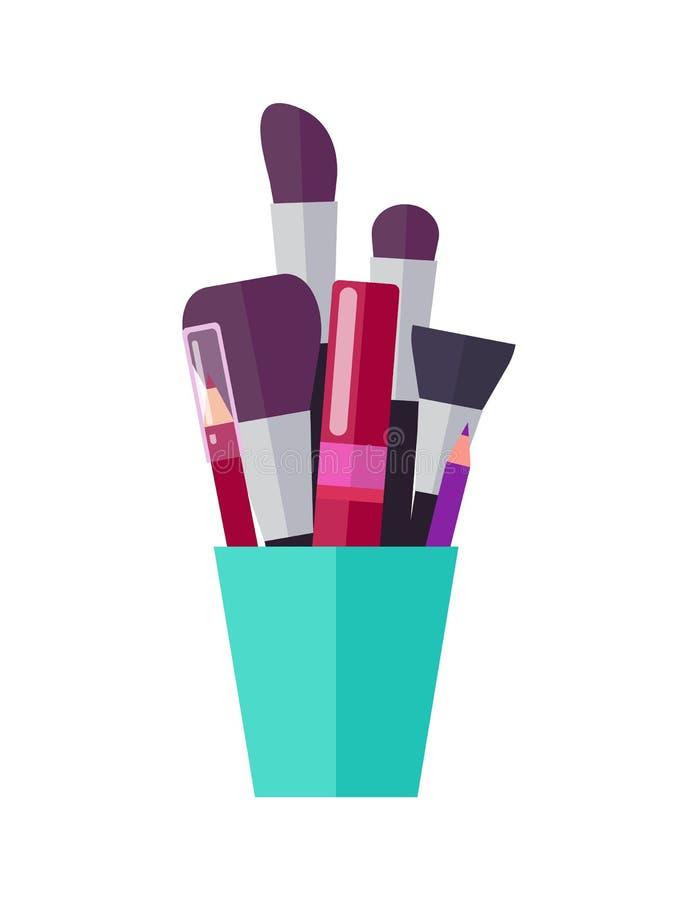 Cepillos enormes, lápices brillantes y tubo del rimel libre illustration