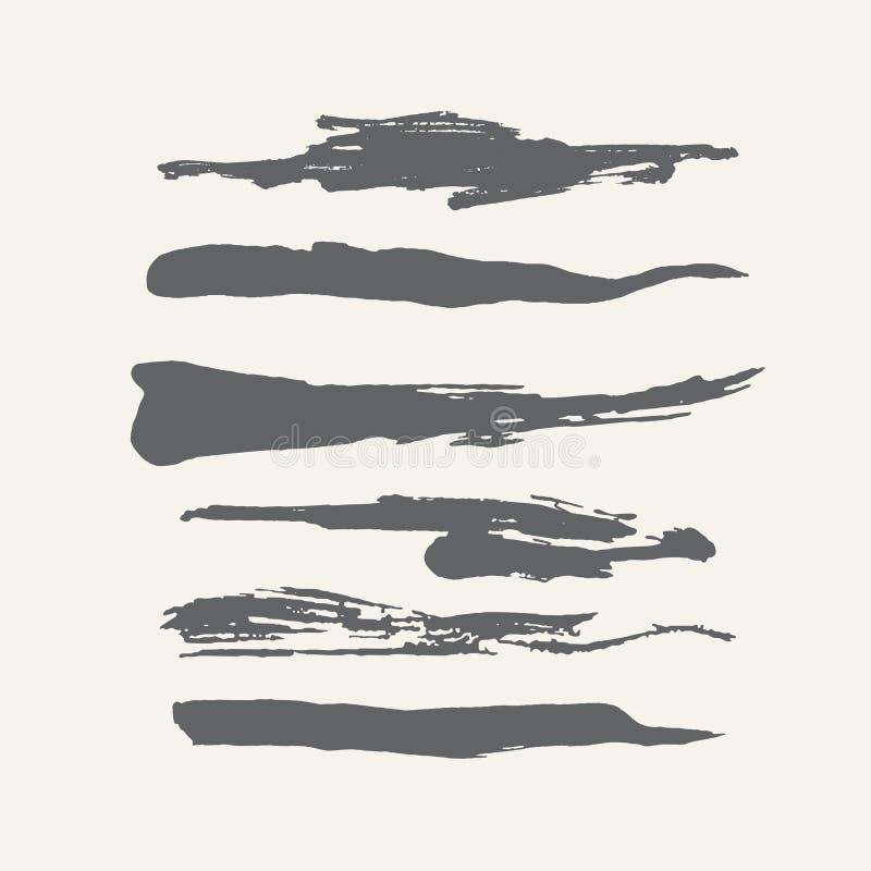 Cepillos hechos a mano rizados del gris del grunge abstracto ilustración del vector