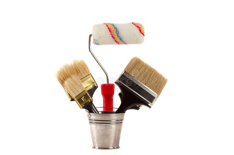 Cepillos para la pintura foto de archivo