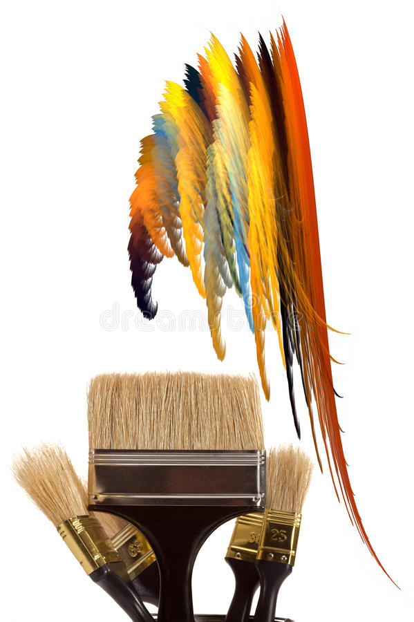 Cepillos para la pintura stock de ilustración