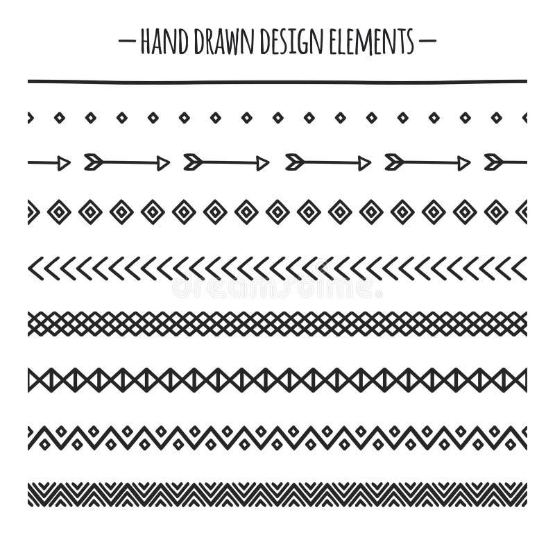 Cepillos tribales Frontera Línea dibujada mano étnica sistema del vector de la frontera Elemento del diseño Cepillos nativos Azte ilustración del vector