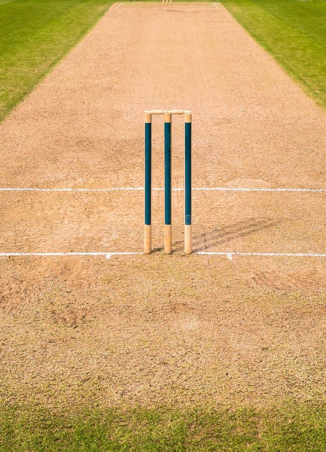 Ceppi del wicket del passo del cricket immagini stock