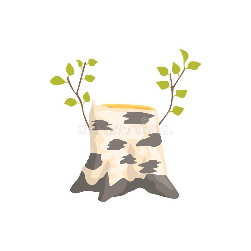 Ceppo di albero della betulla con l'elemento isolato crescita fresca di abbellimento del gioco dell'istantaneo di Forest Landscap illustrazione di stock