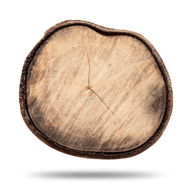 Ceppo di legno o ceppo di legno isolato su fondo bianco puro Vista superiore dei ceppi di albero e della superficie in bianco per fotografie stock libere da diritti